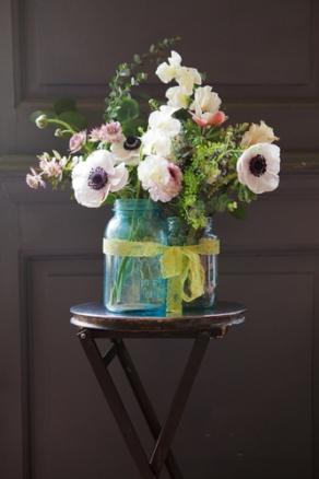 WildflowersBlueGlassJars