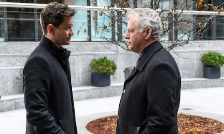 """Reichenbach Falls"" -- Tech billionaire Odin Reichenbach inadvertently provides Holmes and Watson with a lead that could give them evidence that brings him to justice, on ELEMENTARY, Thursday, August 8 (10:00-11:00 PM, ET/PT) on the CBS Television Network. Pictured (L-R) James Frain and Odin Reichenbach and Aidan Quinn as Captain Tommy Gregson Photo: Jeff Neira/CBS©2018 CBS Broadcasting, Inc. All Rights Reserved"