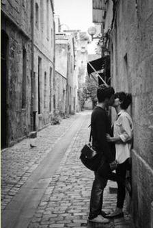 kiss on street